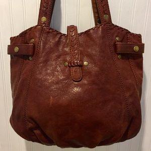 LUCKY BRAND Whiskey Brown Italian Leather Hobo Bag